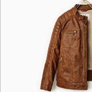 Boys Zara Faux Leather Bomber Jacket